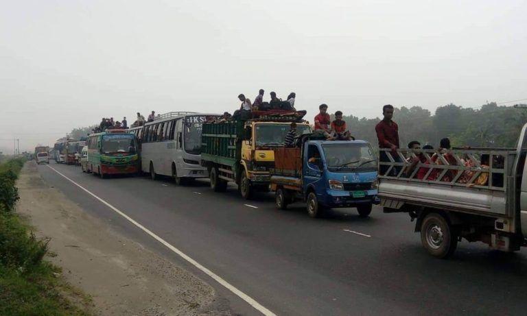 ঈদযাত্রা : ঢাকা-টাঙ্গাইল মহাসড়কে ৪০ কিলোমিটার যানজট