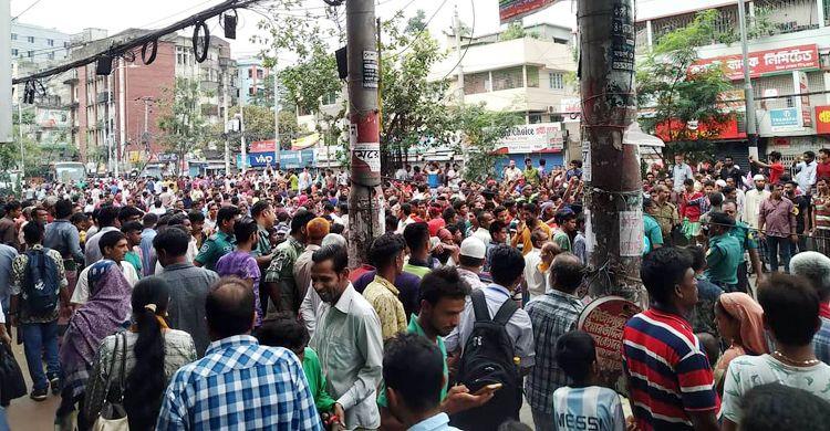 রামপুরা-বাড্ডায় রিকশাচালকদের সড়ক অবরোধে যান চলাচল বন্ধ