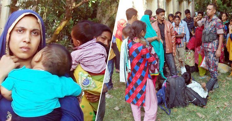ভারতীয় সীমান্তে বাংলাদেশে প্রবেশে অপেক্ষায় অসংখ্য নারী-পুরুষ
